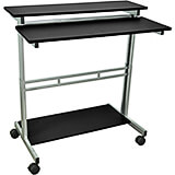 "Black and Gray, Steel 34"" To 46"" Height Adjustable Desk, 40"" Long Sit Stand Desk with Keyboard Tray"