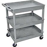 Gray, Plastic Utility / Service Cart, Heavy Duty, 400 Lbs. Capacity