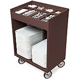 Dark Brown, Silverware and Tray Cart with Vinyl Cover