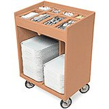 Coffee Beige, Silverware and Tray Cart with Vinyl Cover