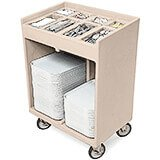 Gray, Silverware and Tray Cart with Vinyl Cover