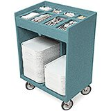 Granite Green, Silverware and Tray Cart with Vinyl Cover