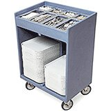 Slate Blue, Silverware and Tray Cart with Vinyl Cover