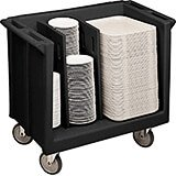 Black, Adjustable Tray and Dish Cart