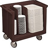 Dark Brown, Adjustable Tray and Dish Cart