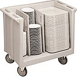 Gray, Adjustable Tray and Dish Cart
