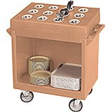 Coffee Beige, Tray and Dish Cart with Rack and Cover