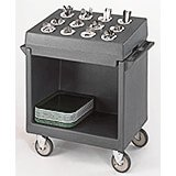 Granite Gray, Tray and Dish Cart with Rack and Cover
