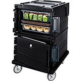 Black, Double Compartment, Insulated Food Carrier, 16-Pan Capacity