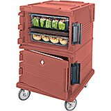Brick Red, Double Compartment, Insulated Food Carrier, 16-Pan Capacity