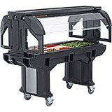 Black, 6 Ft. Portable Food / Salad Bar W/ Heavy Duty Casters