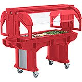 Hot Red, 6 Ft. Children Height Food Bar W/ Heavy Duty Casters