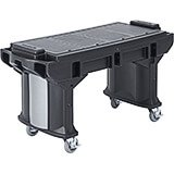 Black, 6 Ft. ADA Height Work / Prep Table W/ Heavy Duty Casters