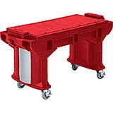 Hot Red, 5 Ft. ADA Height Work / Prep Table W/ Heavy Duty Casters
