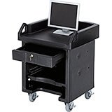 Black, Cash Register Stand / Cart with Casters, No Rails