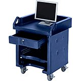 Navy Blue, Cash Register Stand / Cart, No Rails, Heavy Duty Casters