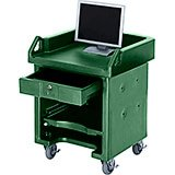 Green, Cash Register Stand / Cart, No Rails, Heavy Duty Casters