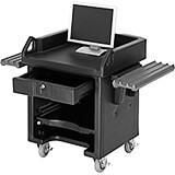 Black, Cash Register Stand / Cart, Dual Rails, Heavy Duty Casters