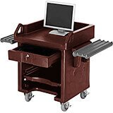 Bronze, Cash Register Stand / Cart, Dual Rails, Heavy Duty Casters