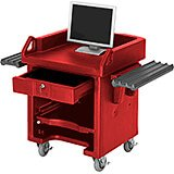 Hot Red, Cash Register Stand / Cart with Casters, Dual Rails