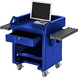 Navy Blue, Cash Register Stand / Cart, Dual Rails, Heavy Duty Casters