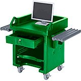 Green, Cash Register Stand / Cart, Dual Rails, Heavy Duty Casters