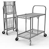 Wire Two-Shelf Rolling Folding Utility Cart