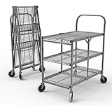 Wire Three-Shelf Rolling Folding Utility Cart